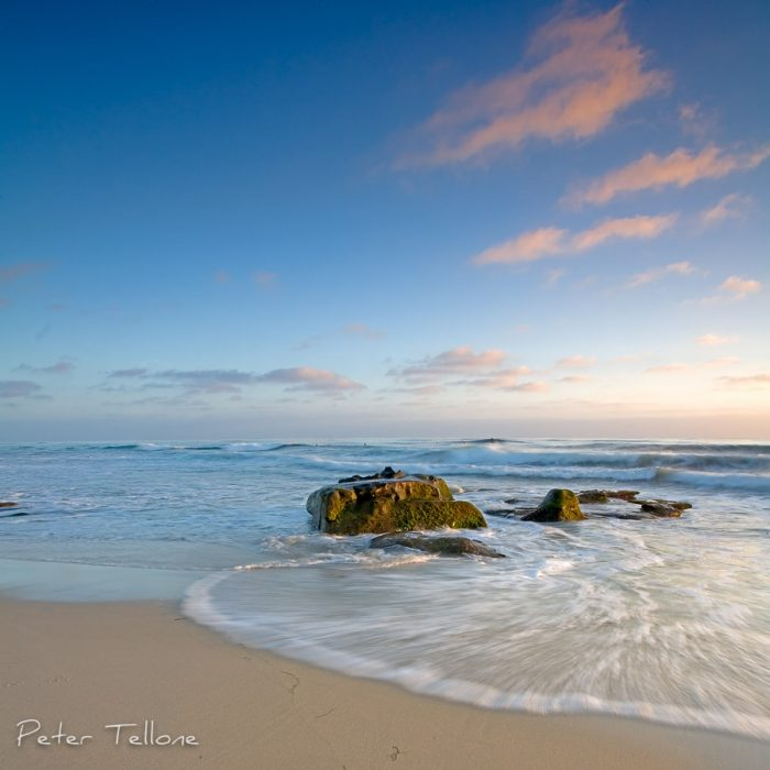 Photo of The soft blue skies of the beach at Windansea in La Jolla California fine art print