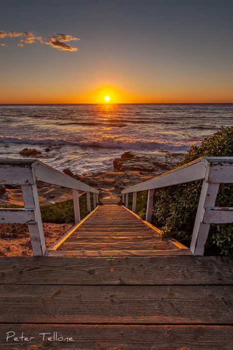Photo of Steps that appear to lead to the Sunset at Windansea beach in La Jolla California Fine art prints