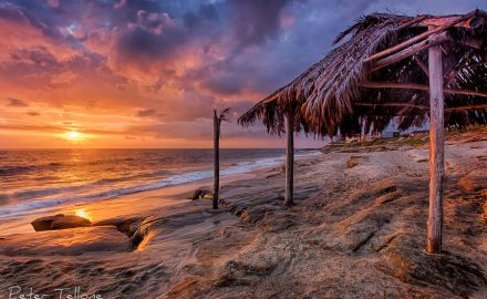A photo of colorful sunset at the surf shack, Windansea Beach La Jolla California fine art print