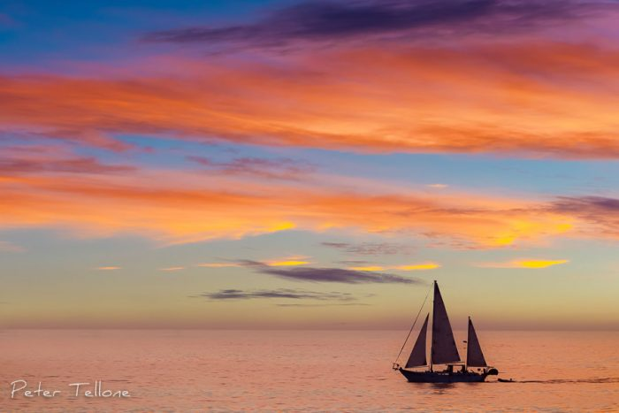Photo of A Schooner as it passes along the coast of La Jolla California Fine Art print
