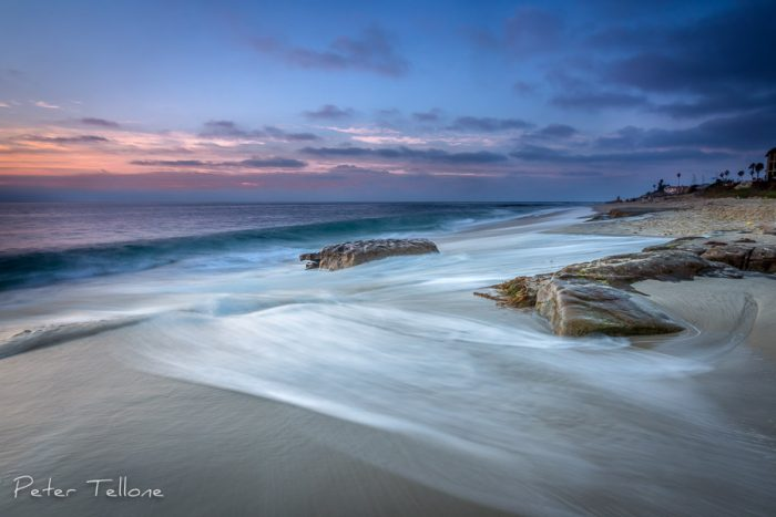 A Photo of A soft and peaceful dusk at beautiful Windansea Beach in La Jolla California Fine Art print